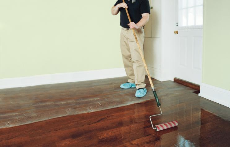 Step Six How To Refinish Wood Floors Lying The Polyurethane Finish